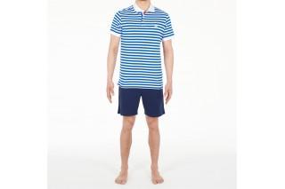 Футболка-поло мужская HOM Aubin бело-голубая